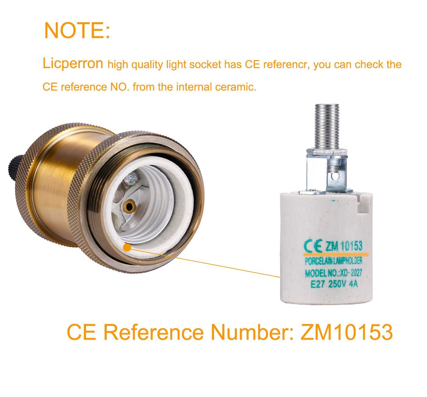Keramik Lampenfassung Licperron E26//E27/Lampensockel massive Messing Fassung Gl/ühbirnen-Adapter 2/St/ück 2er-Pack 220.0volts