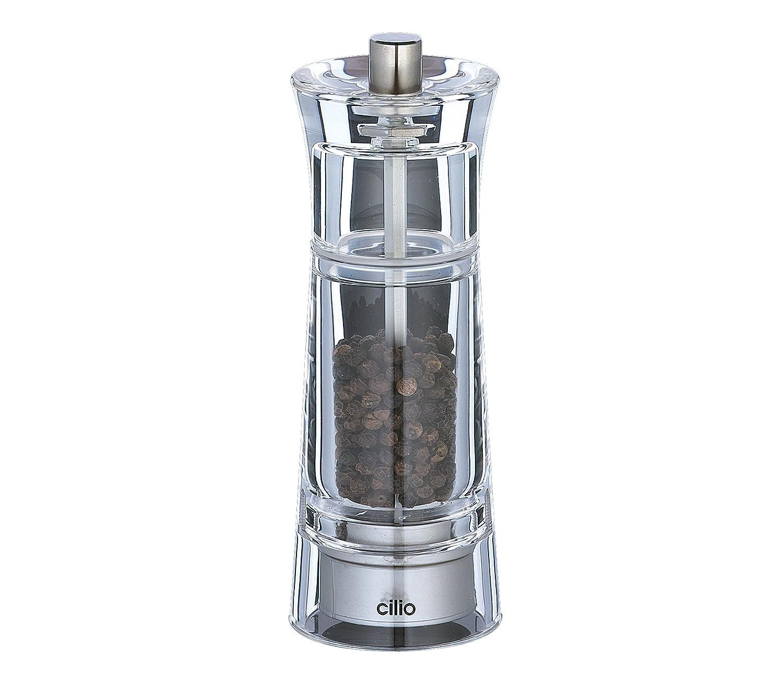 TopGourmet Cilio Genova Pepper Mill Acylic Clear 14 cm Top Gourmet 600162 Salt_Pepper_Mills Tools_Gadgets_Barware