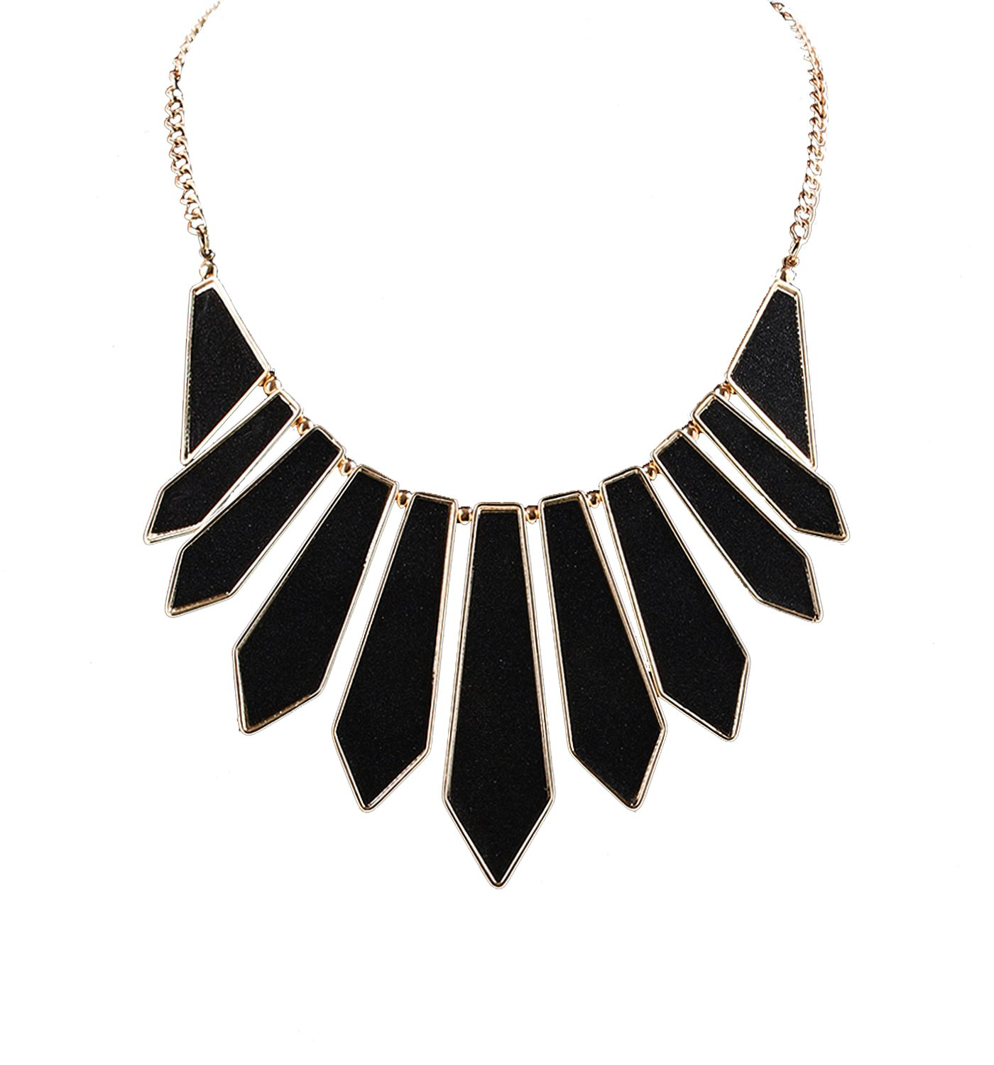 HSWE Statement Boho Bib Collar Pendant Necklace Women Black Choker Necklace Girls Women