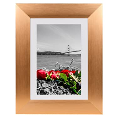 Frametory, Metal Picture Frame Collection, 5x7 Aluminum Rose Gold Photo Frame with Ivory Color Mat for 4x6 Picture & Real Glass