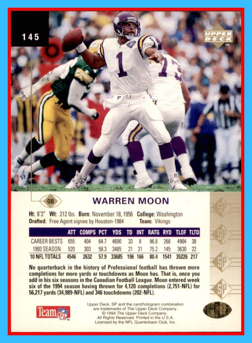 Amazon.com  1994 SP  145 Warren Moon MINNESOTA VIKINGS Washington Huskies   Sports Collectibles 28307388a