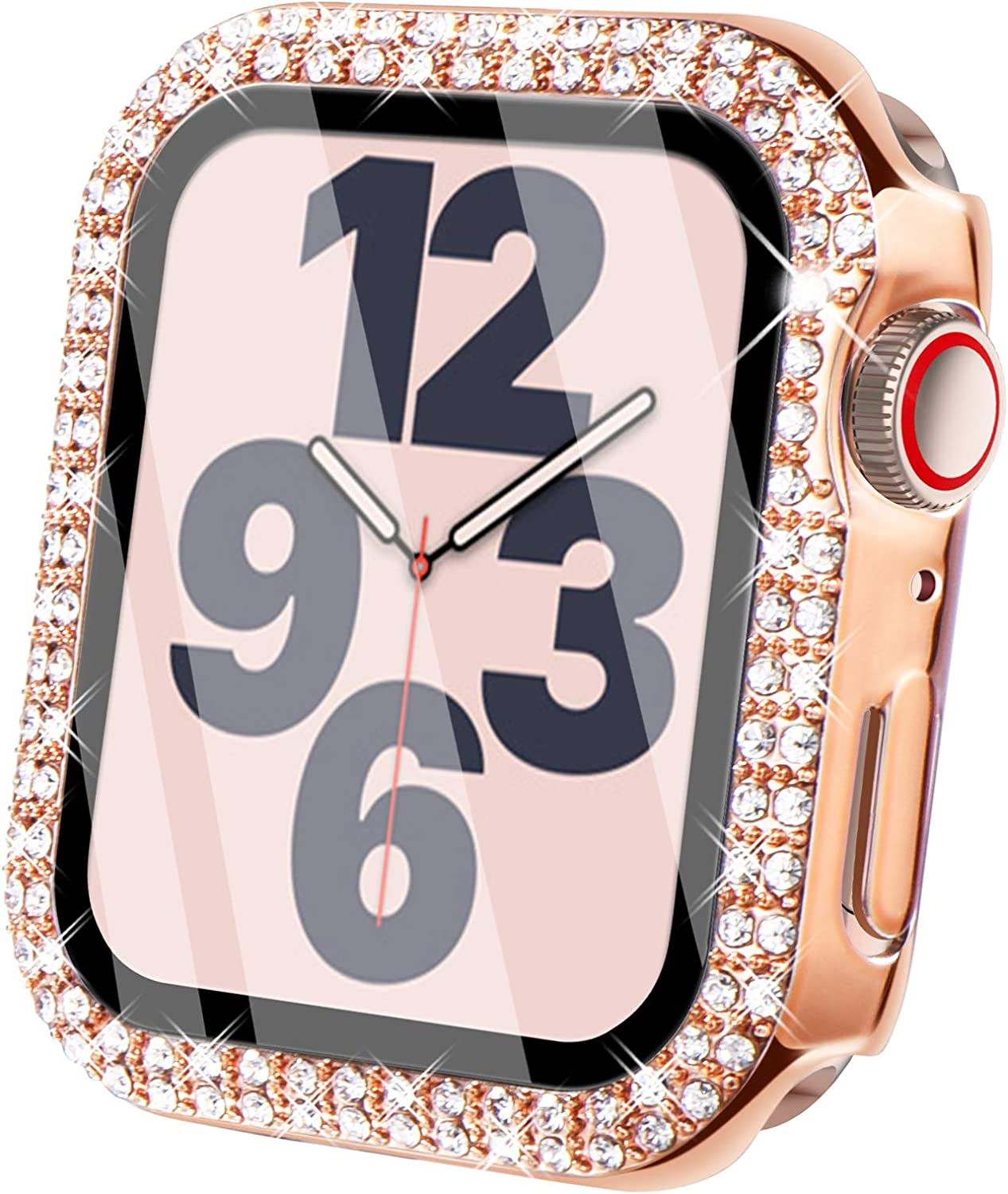 Surace Compatible for Apple Watch Case with Screen Protector 40mm, Bling Crystal Tempered Glass Overall Protective Case Compatible with Apple Watch Series 6/5/4/3/2/1 38mm 40mm 42mm 44mm, Rose Gold