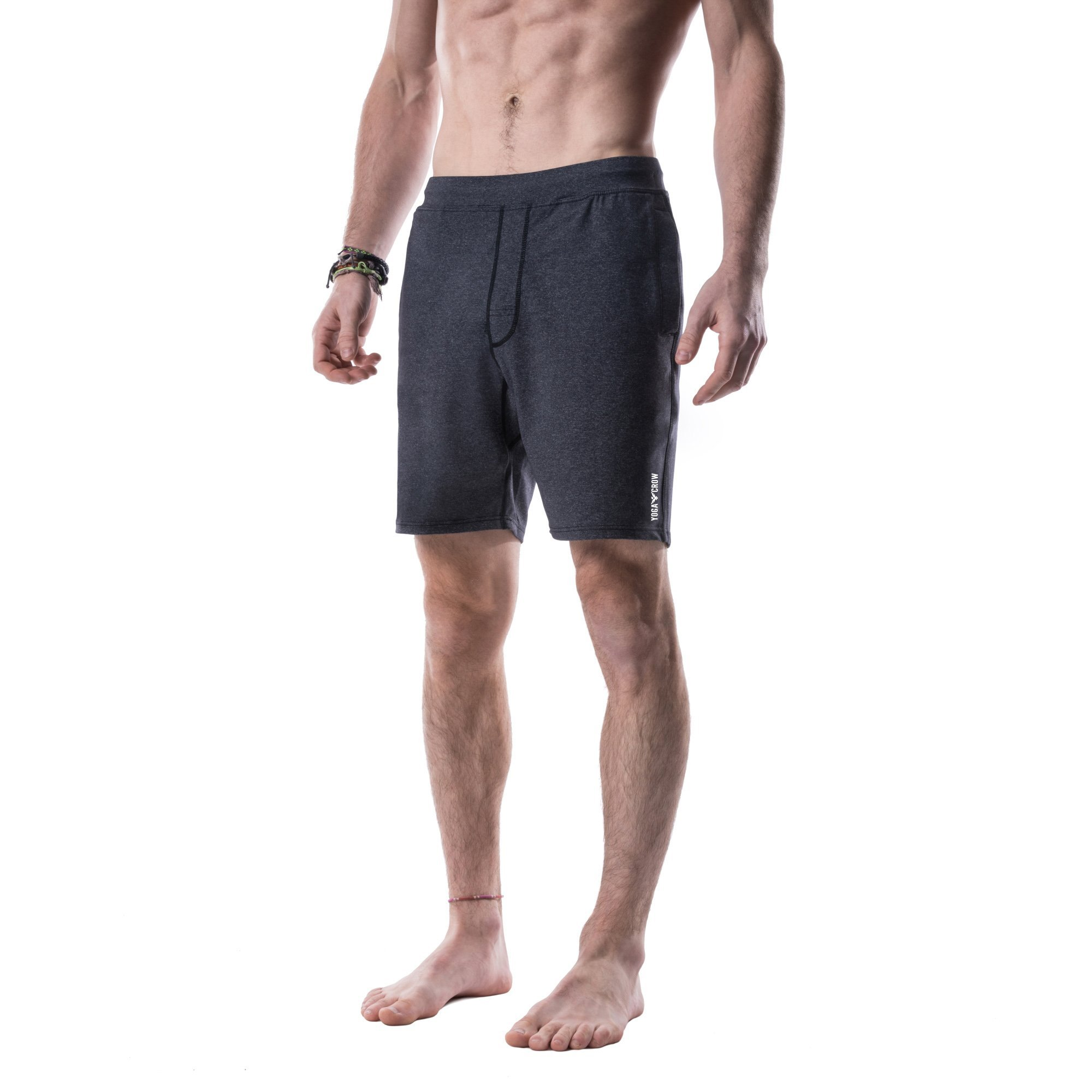 Yoga Crow Mens Swerve Shorts with Moisture Wicking Inner Liner, Heather Grey, Small