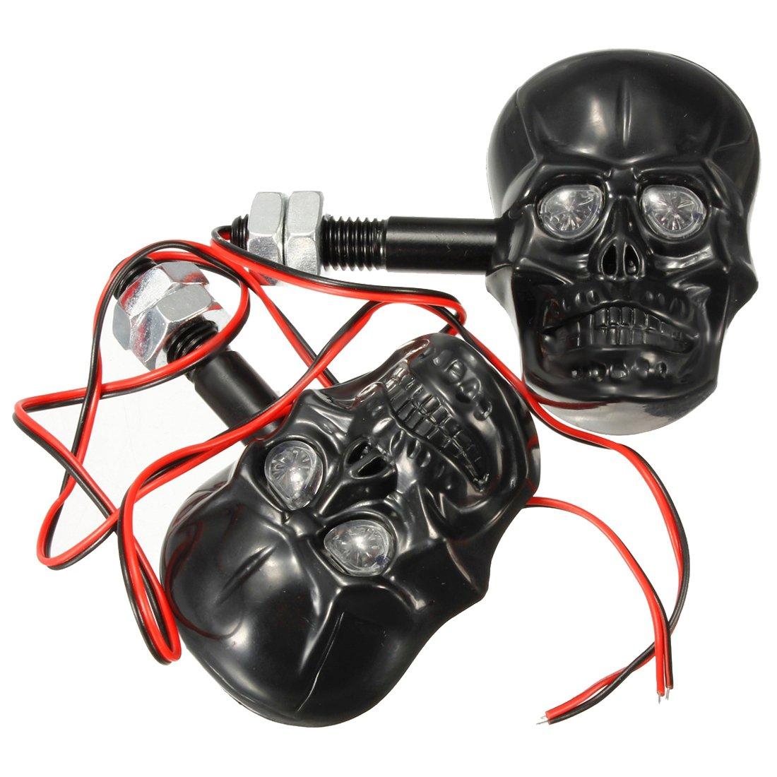 Sothat 2X frecce indicatori di direzione Ambra Teschio Skull 3D Moto Custom Nero
