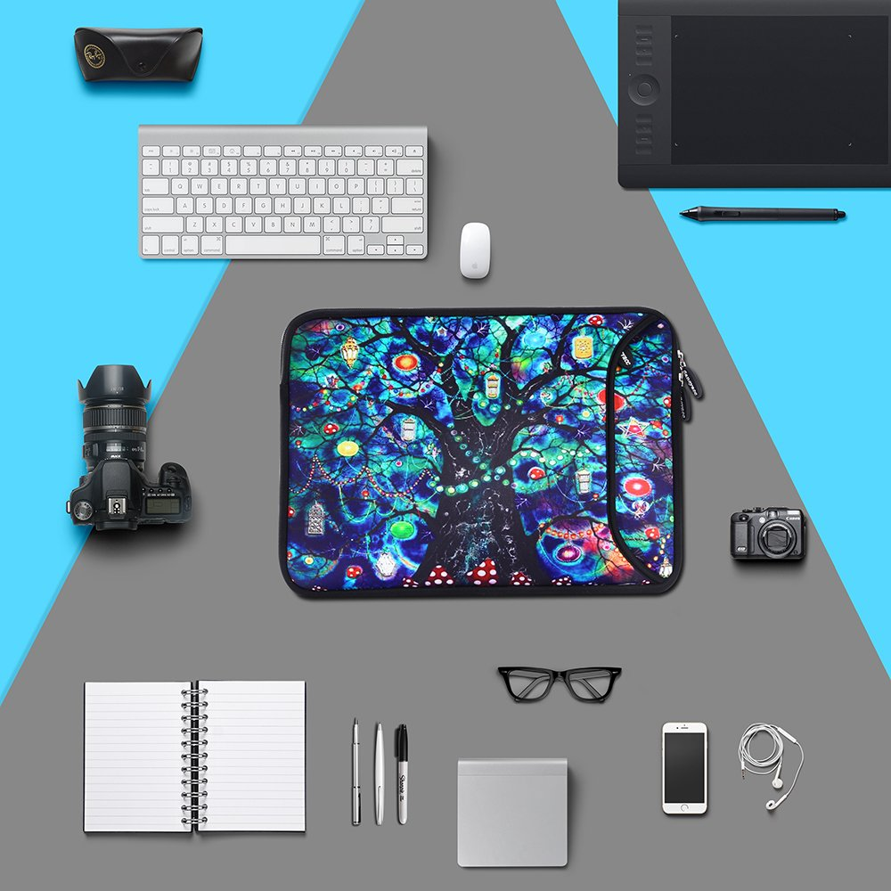 Sancyacc Laptop Sleeve, Water-Resistant Sleeve Bag Cover 13-13.3 Inch, Neoprene Laptop Bag Case, Full Protective Carrying Notebook Pocket for MacBook Air/Pro (Lifetree)