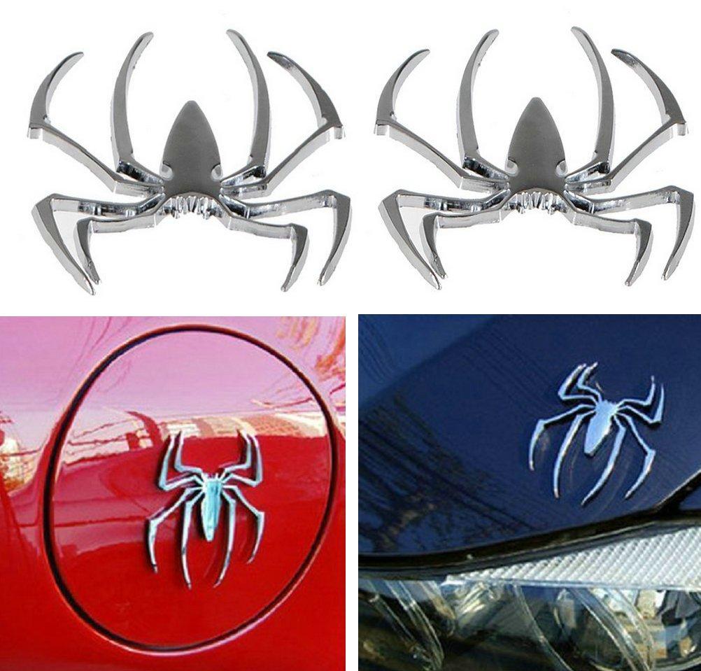 Danti 3D Spider Chrome Emblems Badges Sticker Silvery Can am Spyder RT ST RS Set 2pcs