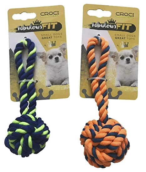 Cruz Cuerda Caoutc. Mini Pelota 16 cm Naranja y Azul para Perro ...