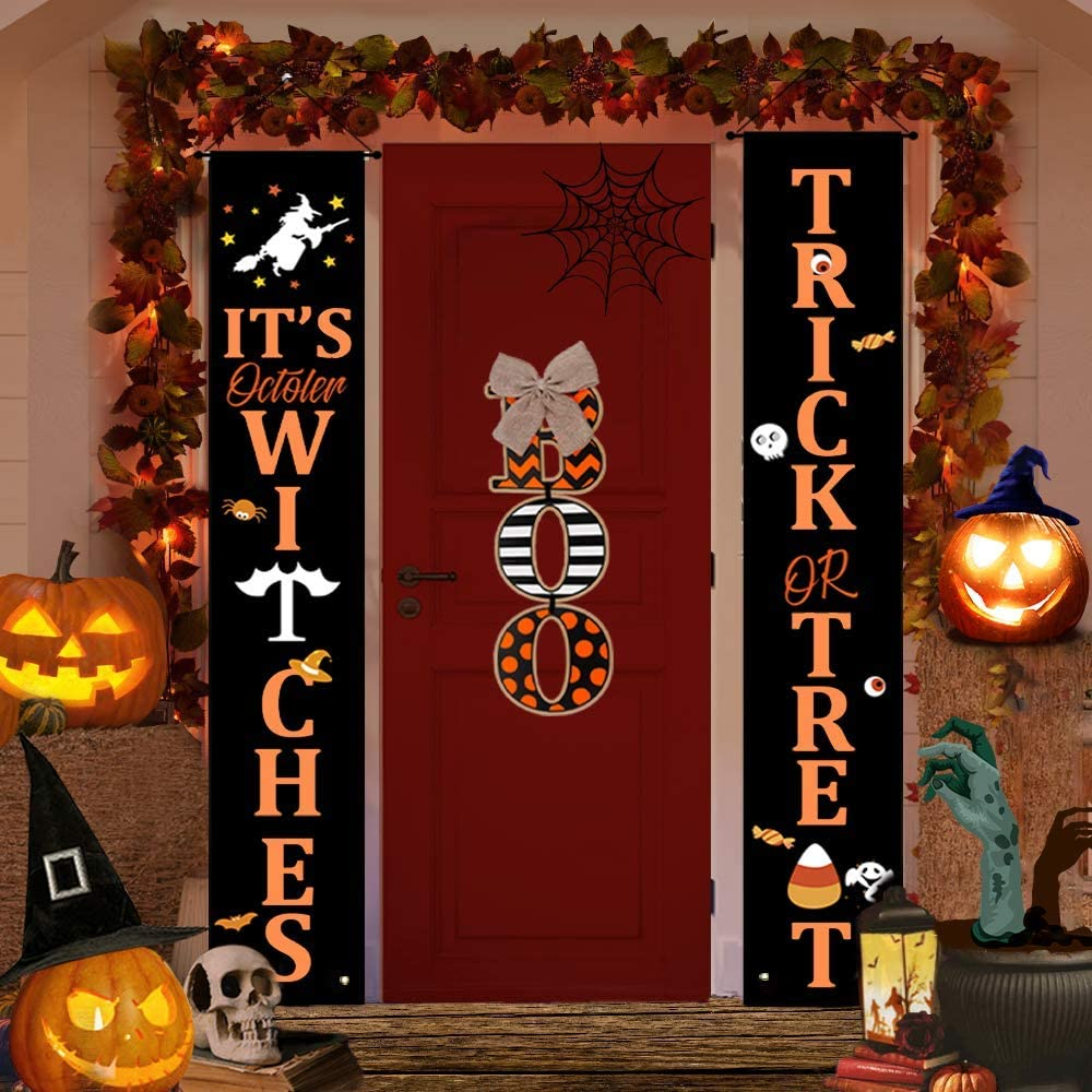 Halloween Decorations Outdoor,Halloween Wall Decorations Halloween Trick or Treat Banner,Outdoor Halloween Decorations Porch Hanging Sign Decor Halloween Porch Banner Halloween Party Decor Supplies