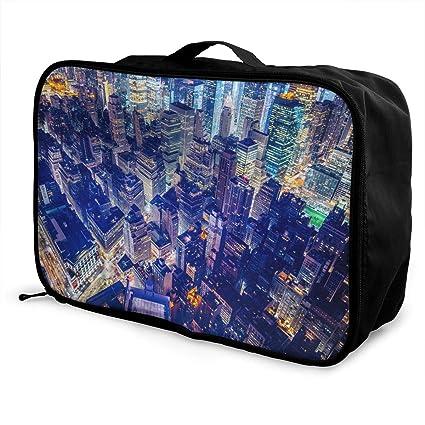 6d470120d5ba Amazon.com: Mintslove Fashion Portable Luggage Bag Buildings Night ...
