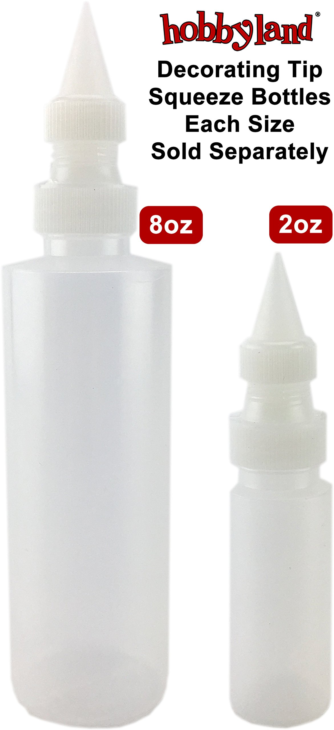 Hobbyland Squeeze Bottles with Fine Point Spout (8 oz, 6 Bottles)
