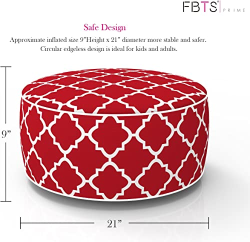 FBTS Prime Outdoor Inflatable Ottoman Red Round 21×9 Inch Patio Foot Stools and Ottomans Portable Travel Footstool Used