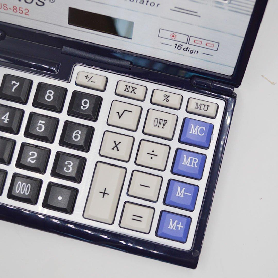 CLARA 16-Digit Basic Folding Compact Calculator Large LCD Flip Over Calculator Solar and AAA Battery Dual Power Calculator Black by CLARA (Image #3)