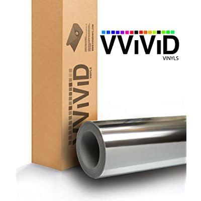 VViViD Gloss Chrome Silver Vinyl Wrap Adhesive Film Roll Air Release DIY Decal Sheet (17.9 Inch x 60 Inch): Automotive