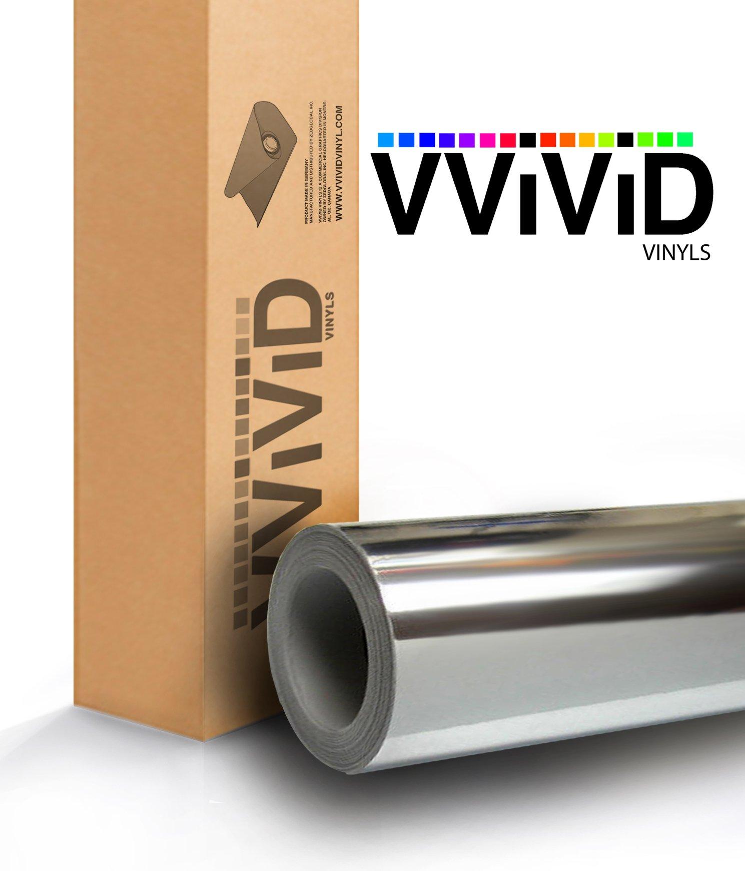 VViViD Gloss Chrome Silver Vinyl Wrap Adhesive Film Roll Air Release DIY Decal Sheet (60'' x 120'')