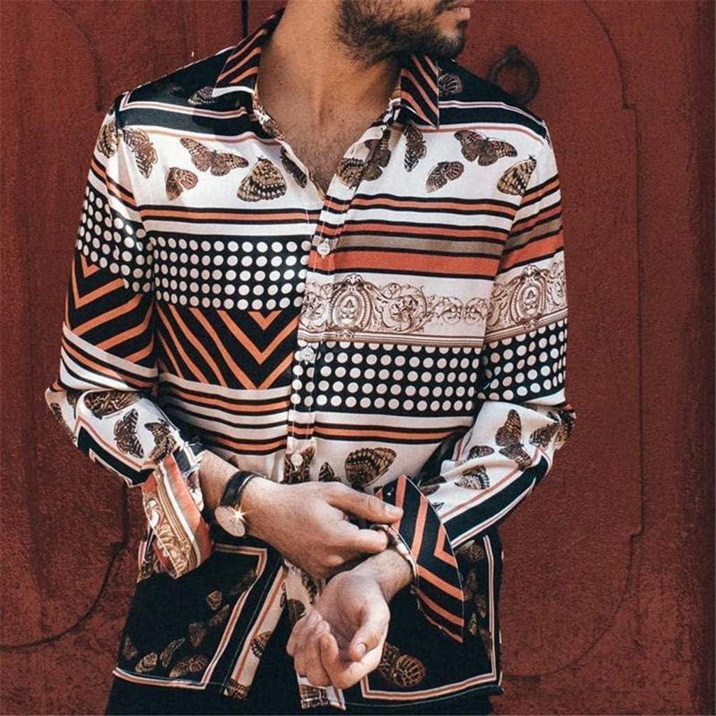 linqiudD Mens Long Sleeve Polka Dot Striped Print Vintage Fashion Casual Shirt
