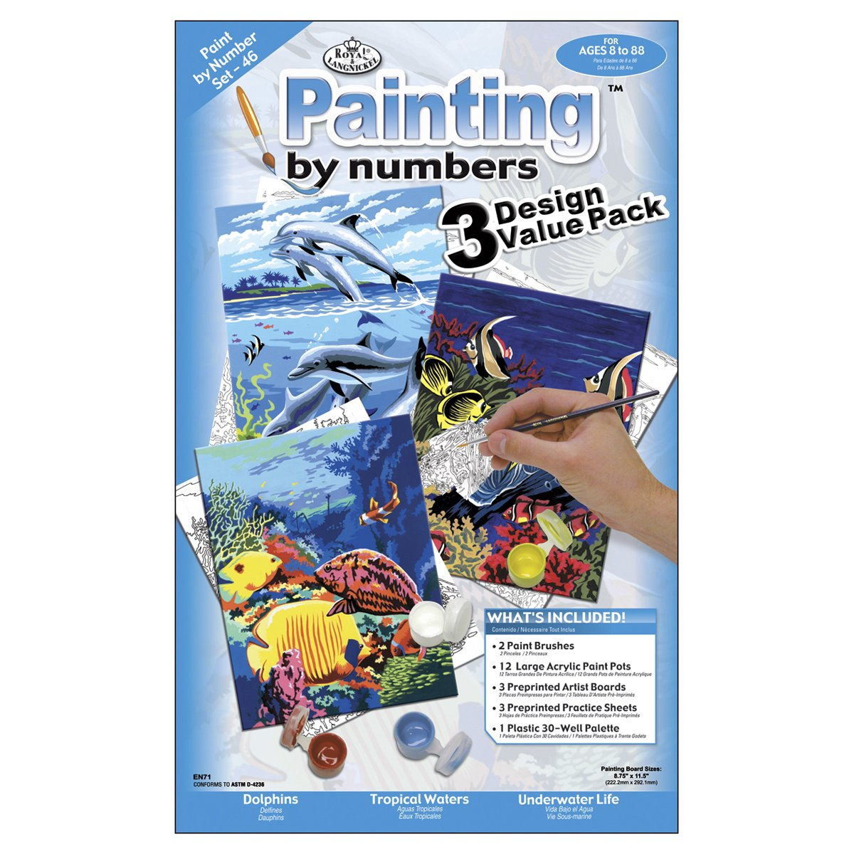 Royal & Langnickel Painting by Numbers Junior Small 3-Piece Art Activity Kit, Sea Life Set