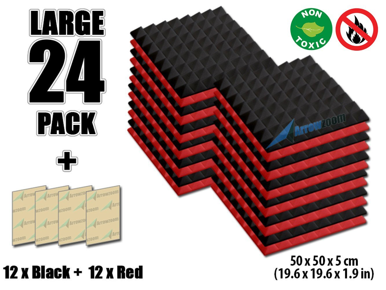 ピラミッドの新しい24パックarrowzoom Soundproofing断熱材Acoustic壁Foam Padding Studio Foamタイルaz1034 19.6 X 19.6 X 1.9 Inches AZ181 B01H4U4MNO 19.6 X 19.6 X 1.9 Inches|レッド&ブラック レッド&ブラック 19.6 X 19.6 X 1.9 Inches