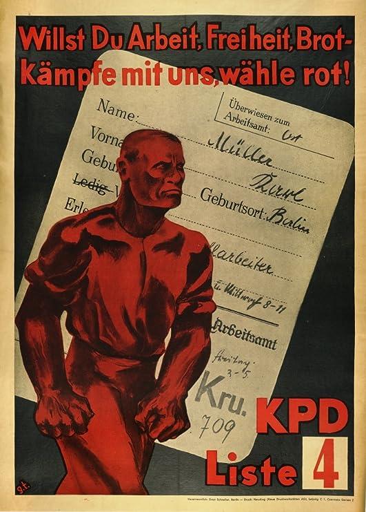 Vintage alemán Propaganda Comunista interwar quieres trabajo ...