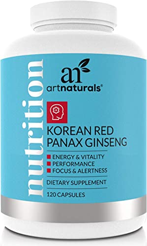 ArtNaturals Korean Red Panax Ginseng Root Extract – 120 Complex Capsules – 500mg – Supplements for Energy, Performance, Mood Vitality – Softgel to Boost Mental Physical Vigor – for Men Women