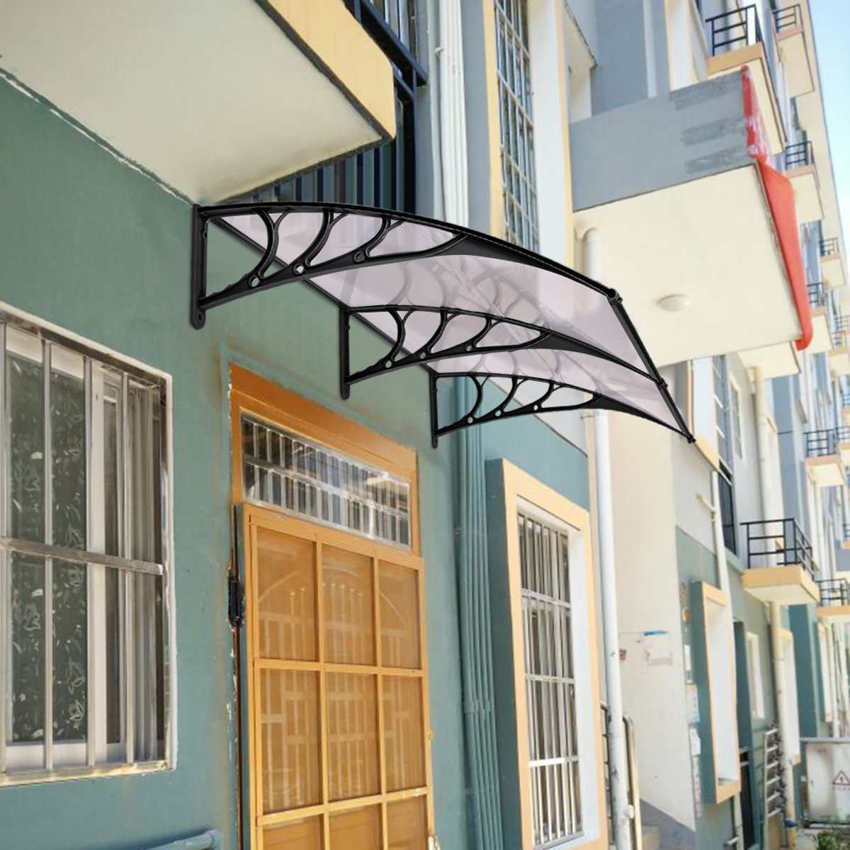 CASART Door Canopy Awning Front Back Porch Shelter Window Roof Sun Shade Home Outdoor (200 x 100 CM, Color 2)