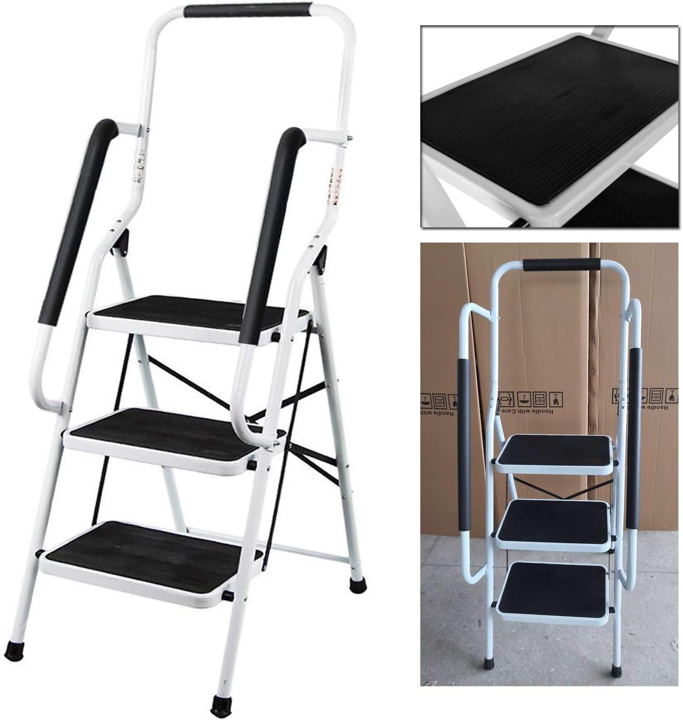 Escalera de acero de 3 peldaños, portátil, plegable, resistente, antideslizante, con barra de seguridad, capacidad de carga de 150 kg: Amazon.es: Bricolaje y herramientas