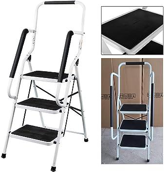 Escalera de acero de 3 pasos, plegable portátil, resistente y antideslizante, con barandilla de seguridad, capacidad de carga de 150 kg: Amazon.es: Hogar