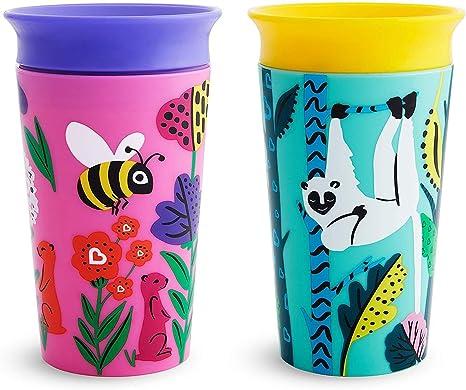 Munchkin Miracle 360 Eco Trainer Cup - Bee/Lemur, 266ml, Pack of 2: Amazon.es: Bebé