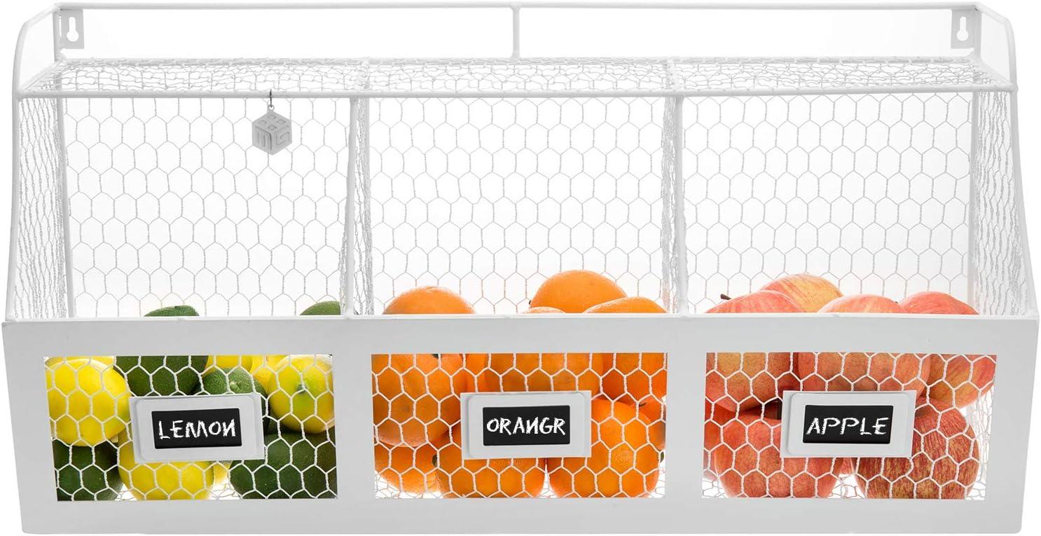 Large White Metal Wire Wall Mounted Hanging Fruit Basket Storage Bin w/Chalkboard Label