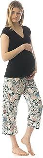 product image for MAJAMAS Cropped MJ - women's short sleeve nursing / maternity pajama set - MADE IN THE USA