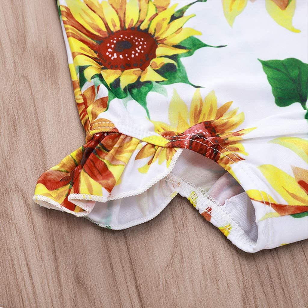 CCSDR 0-2 Year Old Toddler Baby Kids Girls Beach Swimsuits Sunflower Ruffled Bikini