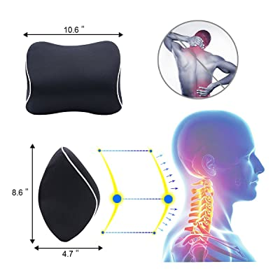 LoveHome Lumbar Support Cushion for Car and Headrest Neck Pillow Kit