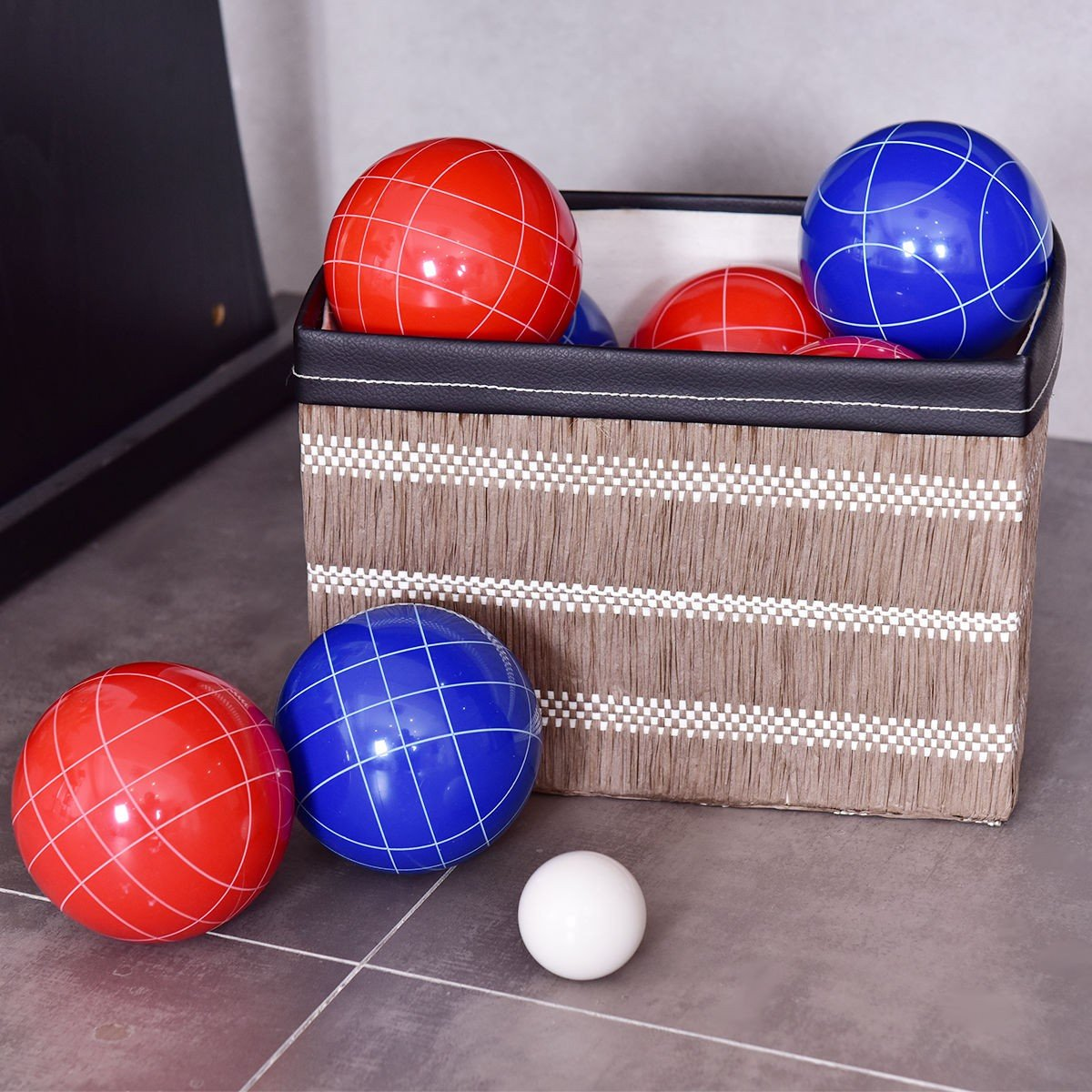 MD Group Bocce Set Backyard Ball Multi-color Resin Outdoor Game Case Lawn Balls