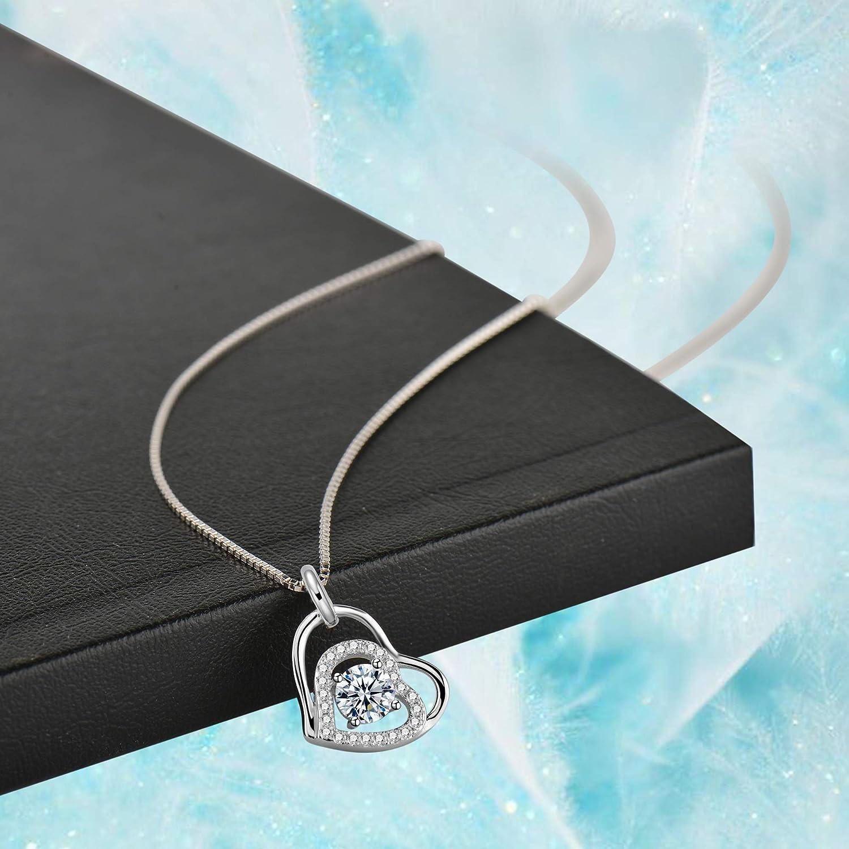 Double Coeur Pendentif Anniversaire Mariage No/ël Cadeau Mode Bijoux Amilril Collier 925 Sterling Argent