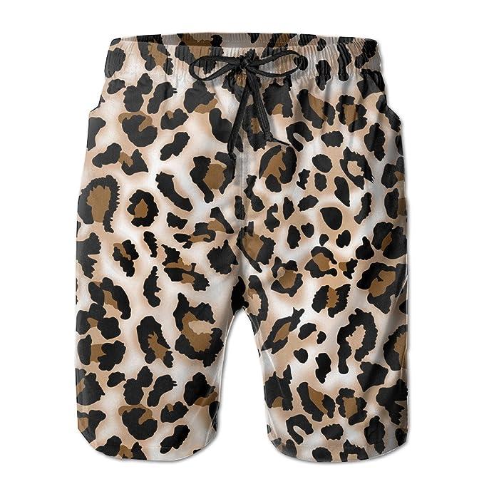 eeaf905b63 Amazon.com: Bdna Leopard Prints Printed Men's Beach Shorts Swim Trunks  Casual Sport Print Short Pants Jogging Pants: Clothing
