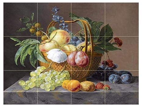 Natura morta con frutta e fiori in un cesto di anthony oberman plum