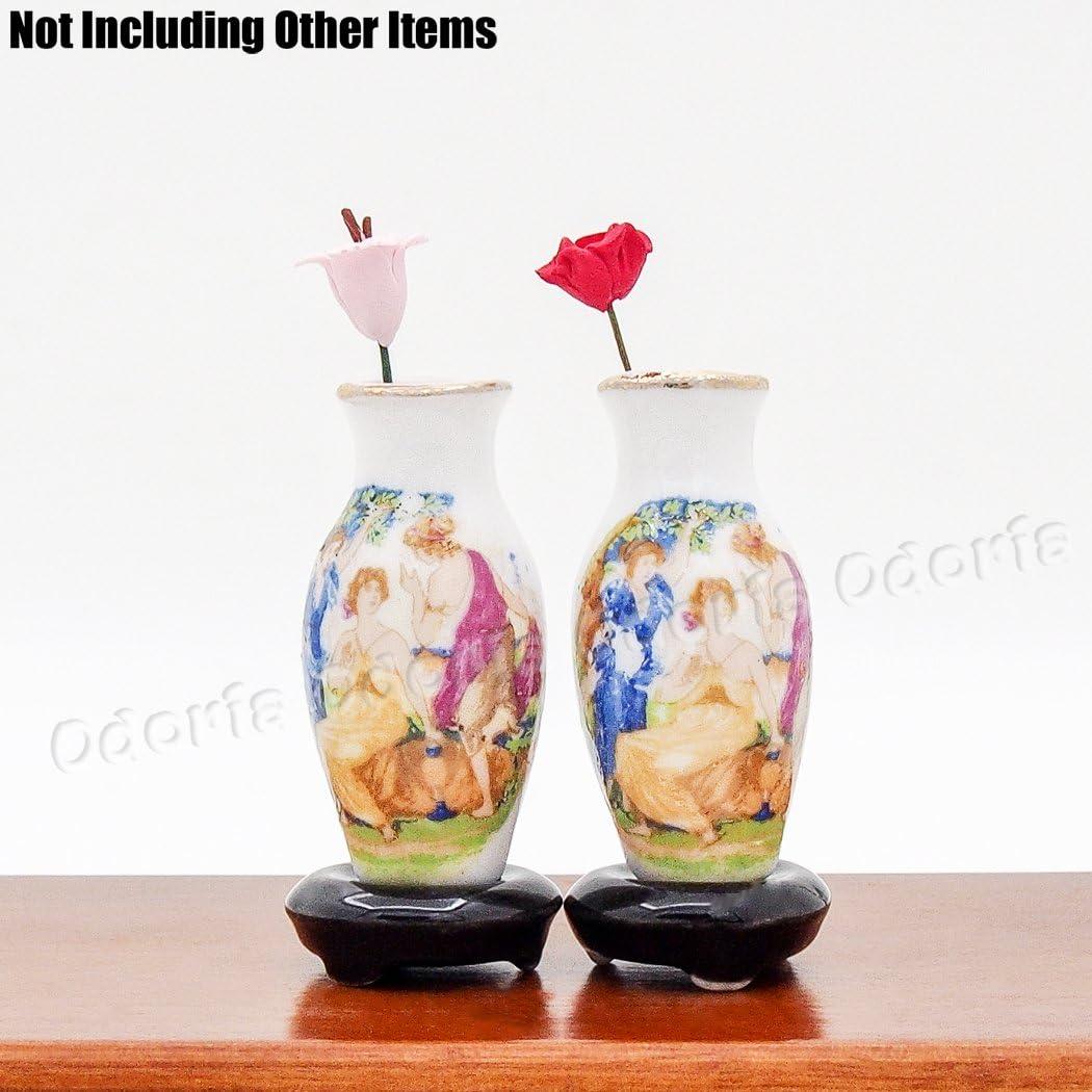 Odoria 1:12 Miniature 2PCS Antique Porcelain Vase Dollhouse Decoration Accessories