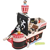Indigo Jamm Jolly Jack's Pirate Ship, Retro Wooden Toy Pirate Ship with Removable Characters, Treasure Chest, Crocodile and Canon
