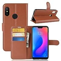 DAYNEW für XiaoMi Mi A2 Lite Hülle,[Eingebauter Magnet] [Ultra Slim] [Card Slot] Tasche Leder Flip Brieftasche Etui Schutzhülle für XiaoMi Mi A2 Lite-Braun