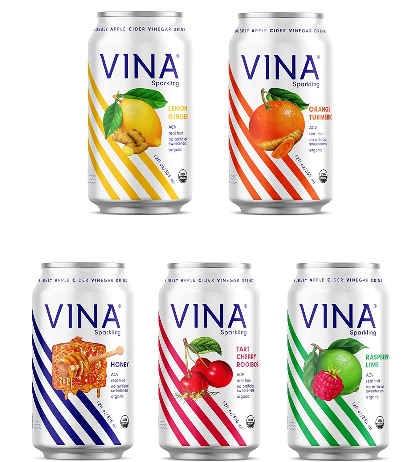 VINA Sparkling Apple Cider Vinegar Drink | Variety Pack Made With Certified Organic Apple Cider Vinegar, Real Fruit, Sparkling Water, No Artificial Sweeteners | 12 Fluid Ounce Cans (Pack of 12)