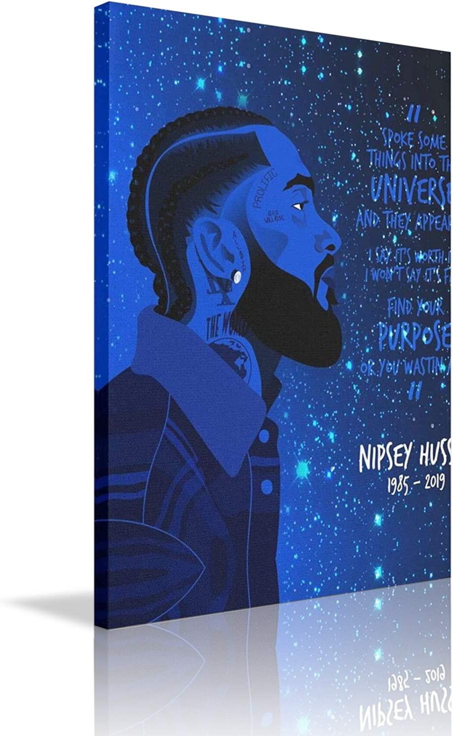 """Jtny-Art N-Ipsey Hussle Blue Wall Art Nursery Canvas Picture For Kids Adult Bedroom Wall Decor Modern Canvas Art For Home Decoration 12"""" X 16"""""""