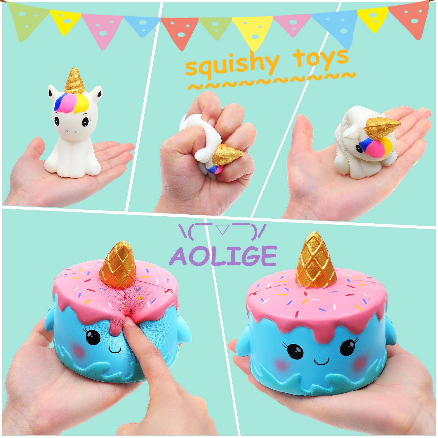 AOLIGE Kawaii Slow Rising Squishies Pack Unicorn Cake Donut Squishy Toys for Boys and Girls 5Pcs by AOLIGE (Image #4)