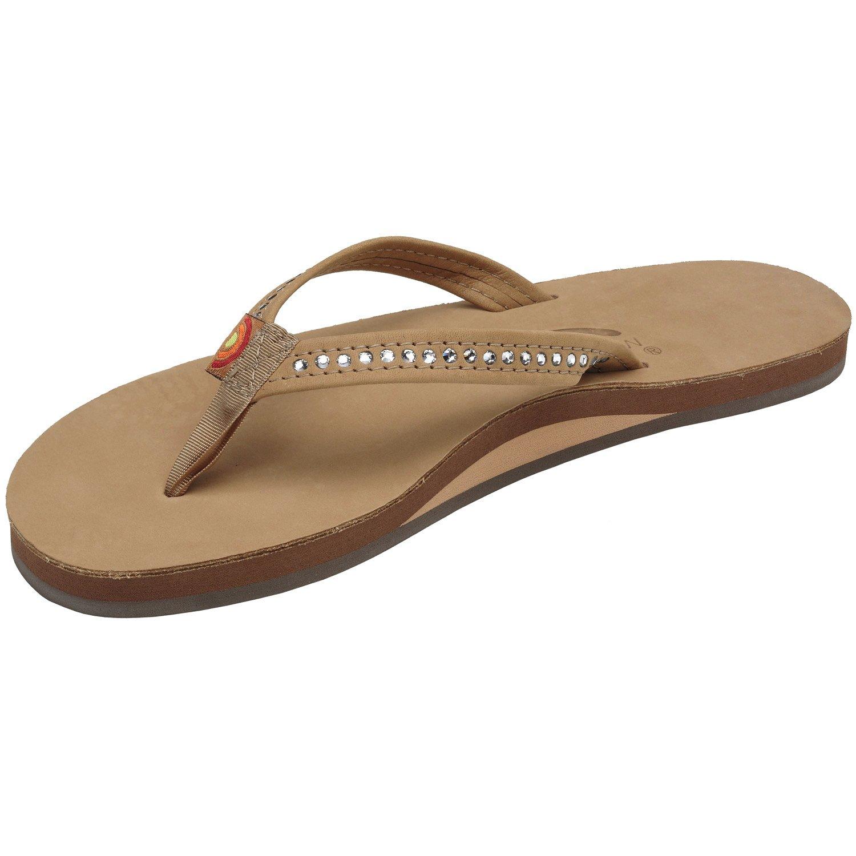 daad04cd8cff Amazon.com  Rainbow Sandals Women s Single Layer Premier Leather  w Swarovski Crystal Narrow Strap  Shoes