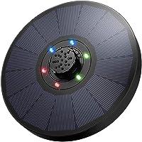 Bomba de Agua Fuente Solar con Luces LED, Bomba Fuente Solar 9V 2.6W, Respaldo de Batería de 1200mAh, Boquilla 4 en 1 Mejorada para Baño de Pájaros, Pecera, Decoración de Estanque, Diámetro de 18cm