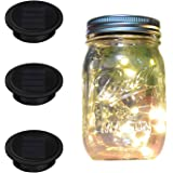 Mason Jar Lights Regular Mouth, iThird 3 Pack 10 LED Solar Powered String Lights Outdoor Warm White for Wedding Christmas Party Deck Porch Balcony Decorative Lighting(Jars Not Included)