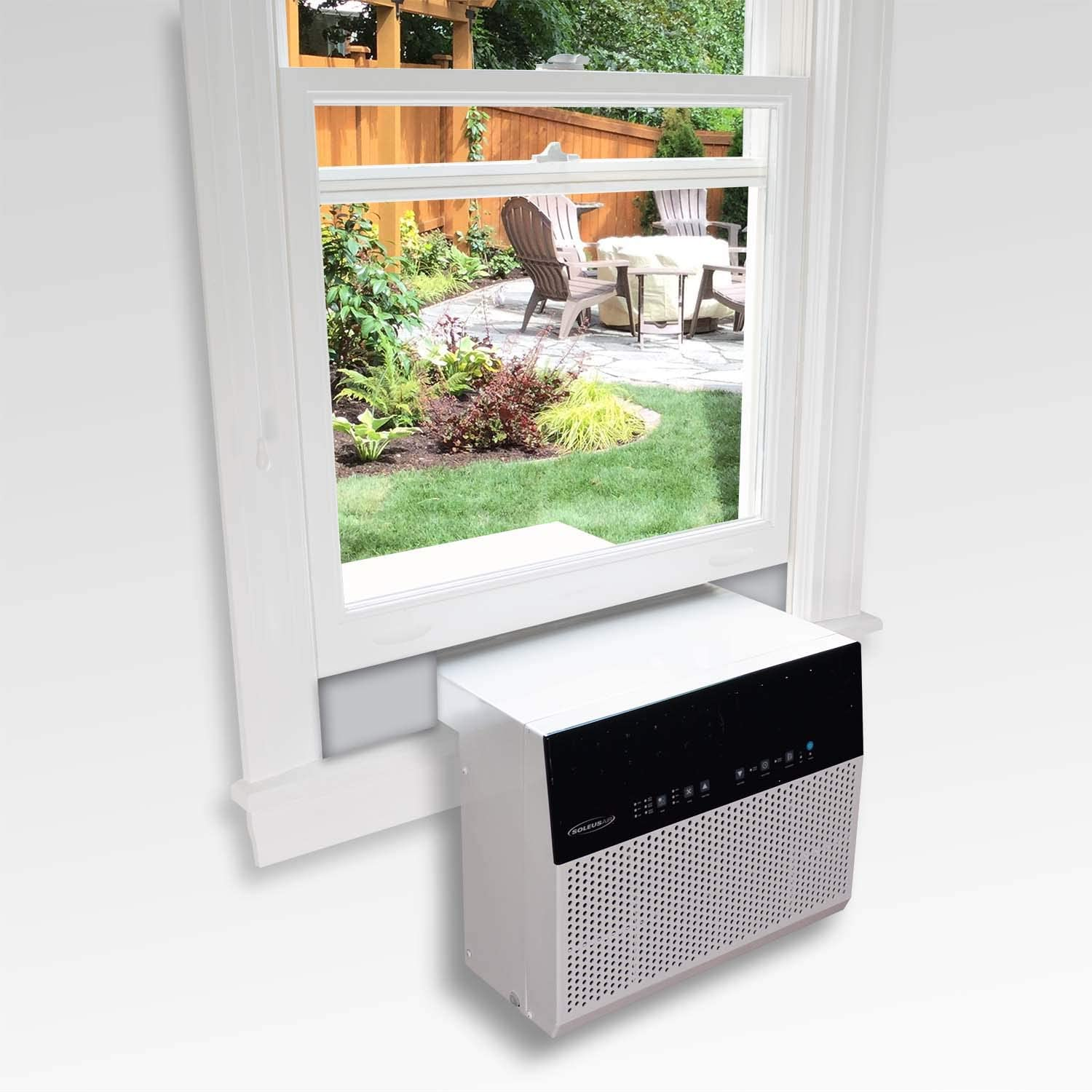 Soleus Air Exclusive 6,000 BTU Energy Star First Ever Over The Sill Air Conditioner Putting it in a Class of its Own for Safety and Whisper Quiet, Along with Keeping Your Window View