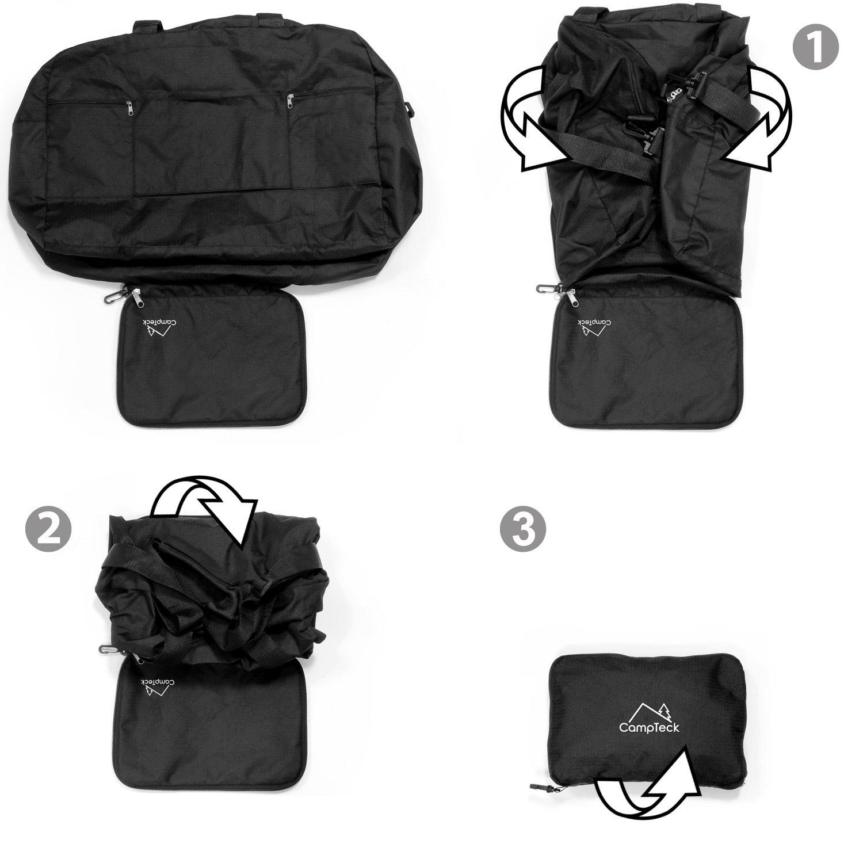 Shopping etc Noir CampTeck 38.5L Sac de Voyage Pliant /& L/éger Sac Pliable pour Bagage Cabine Avion Salle de Gym Camping Randonn/ée
