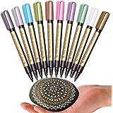 Metallic Markers Pen for Rock Painting - Medium Point, Metallic Color Paint Markers for Ceramic Painting, Glass,Mug, Plastic, Photo Album, Card Making, 10 Colors