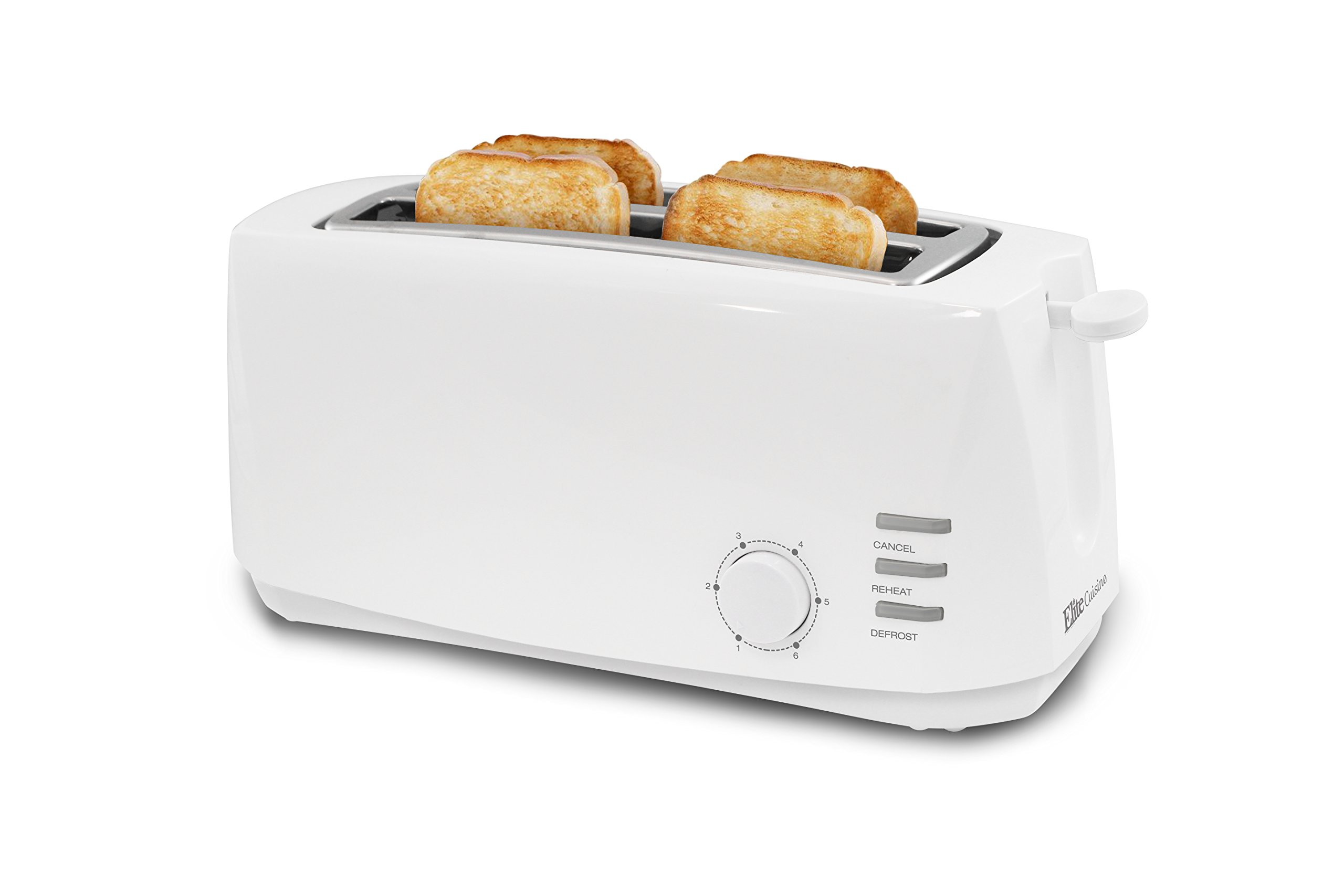 Elite Cuisine ECT-4829 Long Cool Touch Toaster with Extra Wide 1.5'' Slots for Bagels and Specialty Breads, 4 Slices, White