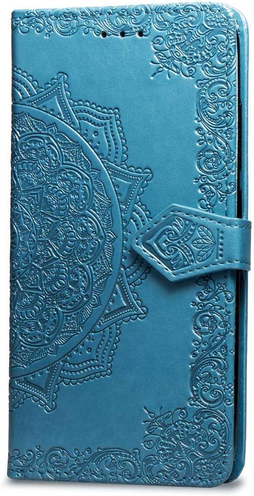 Oihxse Funda con Realme X, Cuero PU Billetera Cierre Magnético Flip Libro Folio Tapa Carcasa Relieve Soporte Plegable Ranuras para Tarjetas Protección Caso(Azul)