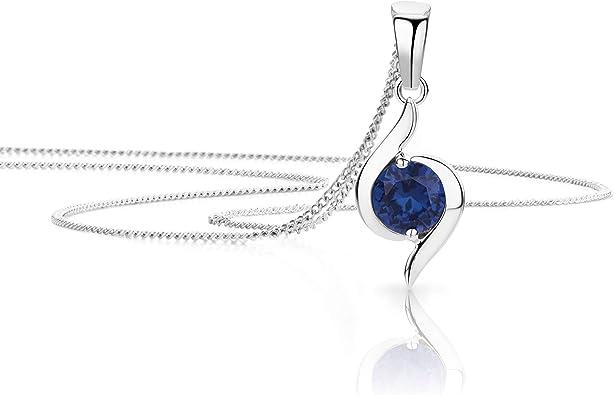 pendentif + chaîne Saphir Bleu Femmes Bijoux 925 Argent Sterling Collier